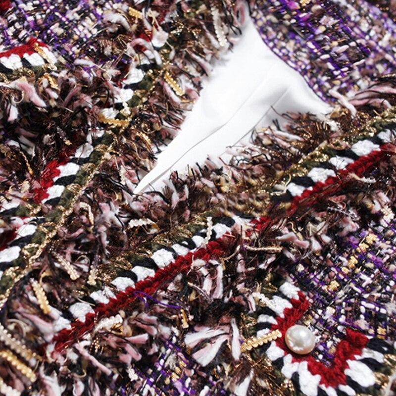 D'une Pourpre Tweed Femme Femmes Burr Pour Parfum Seule Manteau Petit De automne Pièce Nouveau Veste Printemps qFqrwHtp