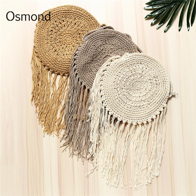 Osmond Summer Women Straw Bag Rattan Corss Body Bohemian Beach Bag Handmade Knitted Crochet Braid Fringed Tassel Shoulder BagOsmond Summer Women Straw Bag Rattan Corss Body Bohemian Beach Bag Handmade Knitted Crochet Braid Fringed Tassel Shoulder Bag