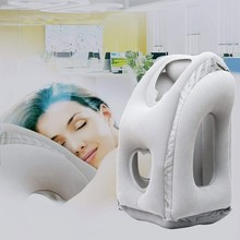 купить PVC Flocking Inflatable Pillow Travel Generation Neck and Head Support Pillow for Sleeping on The Airplane Train Car Home Office дешево