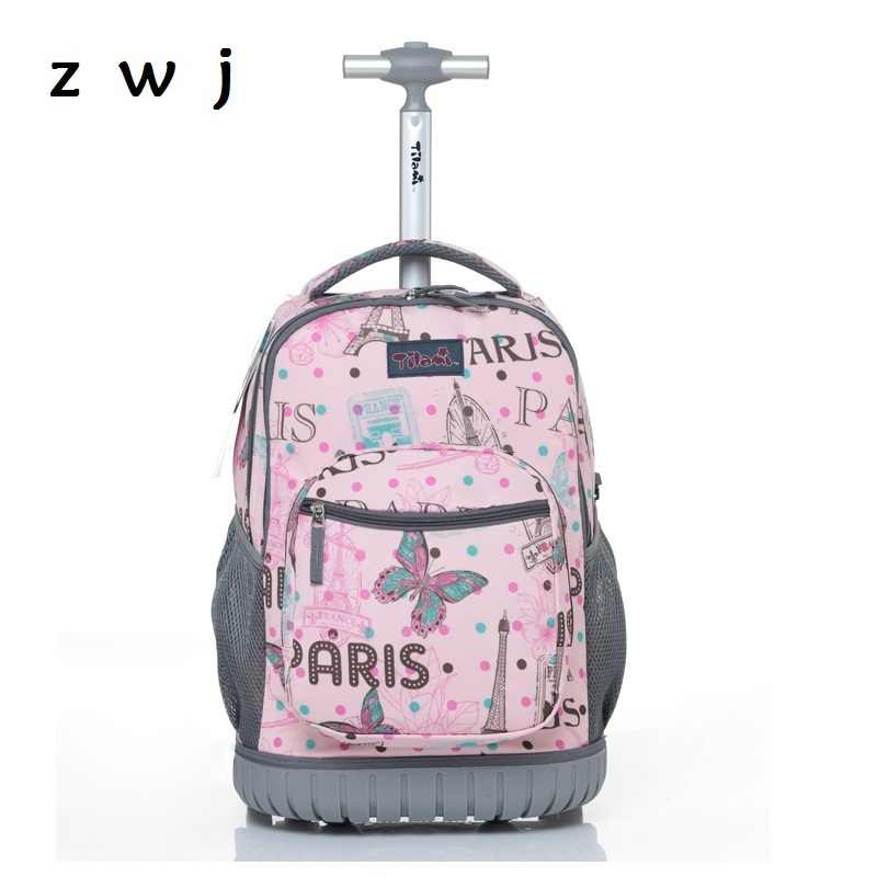 18 inch Butterfly Children School Bags Kids Travel Suitcase with Wheels ABS Rolling  Luggage Travel Trolley e471185ae2