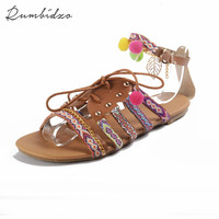 Women Shoes 2017 Fashion Women Sandals Summer Flat Heel Ethnic Bohemia Style Lace Up Cover Heel