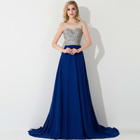 Real Photo Fashion Sleeveless Royal Blue Prom Dresses 2015 With Beads and Sequins For Women Chiffon Sheer Back Party Prom Gown
