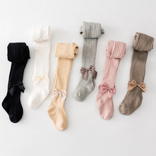 0-6 Yrs Children Spring Autumn Winter Bowknot Tights Cotton Baby Girls Pantyhose Kids Infant Knitted Collant LKW020