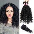Peruvian Virgin Hair With Closure Hotlove Unprocessed Virgin Curly Hair With Closure 8A Deep Wave Bundles With Closure