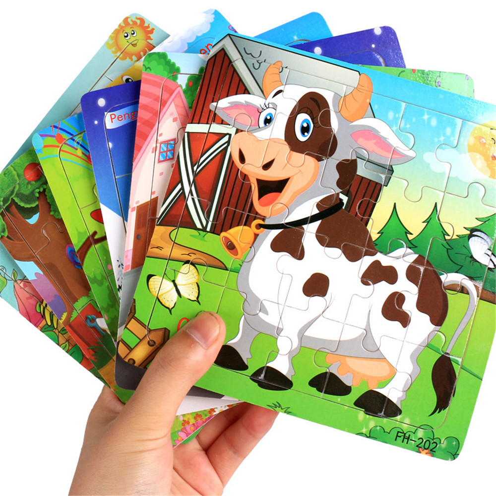 MUQGEW Wooden Puzzle Jigsaw Wooden Toys For Children Cute Cartoon Animal Puzzles Intelligence Kids Children Educational Toy push along walking toy wooden animal patterns funny kids children baby walker toys duckling dog cat development eduacational toy