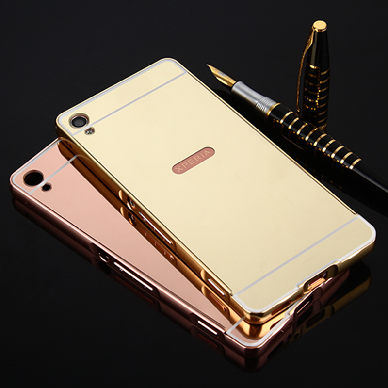 For Sony Xperia X/XP/XA/ XA Ultra Dual Case Luxury Hybrid Aluminum Metal Bumper Frame Mirror Back Cover case