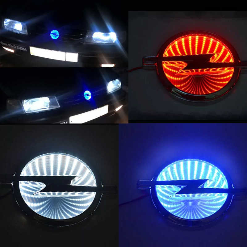 133mm X 101mm Waterproof 3D Car Badge Led Light Auto Logo Lights Car Emblem for Opel  White Red Blue DC 12V