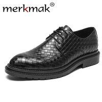 merkmak Fashion Business Dress Men Shoes 2019 New Classic Leather Men's Suits Shoes Luxury Office Footwear Men Oxfords Shoes