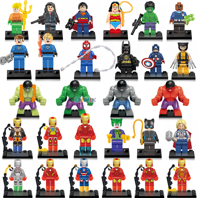Hot Movie Super Heroes Figures Set bat Captain American Hulk Spiderman Iron Man LEGOINGLYS Building Blocks Bricks Children Toys