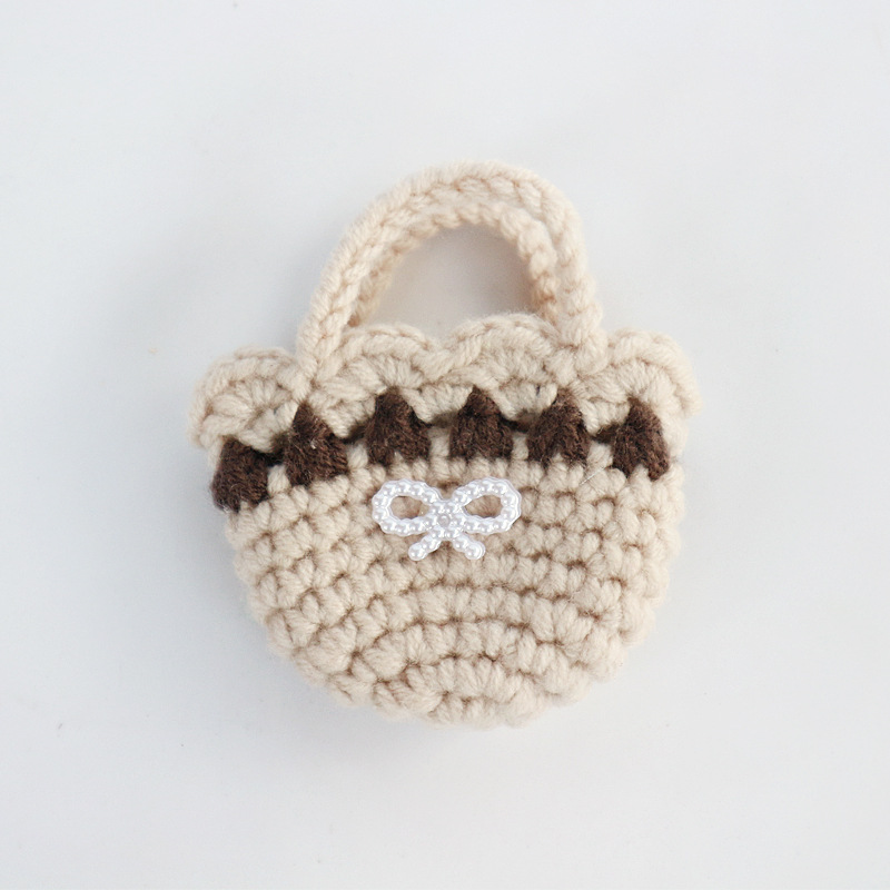 Wholesale(6 pieces/lot) Handmade Crocheted Knitting DIY Craft Min Handbag (6x7cm) for Doll Clothes Accessories