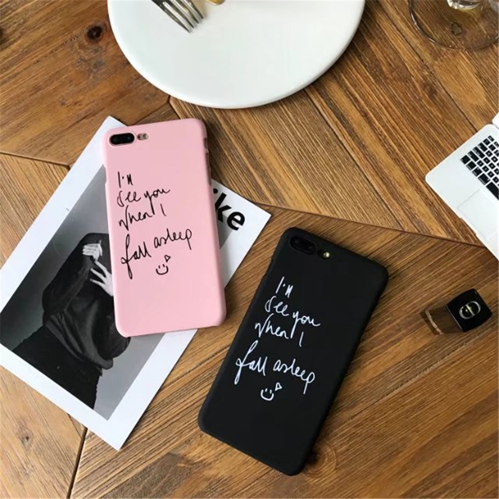 Cute Black Pink Colors Writing Painting Hard Case For Iphone 5 5s 6 Samsung Flip Wallet Cover Casing Galaxy S6 Edge Plus Bulk Pack Biru 1 2 3