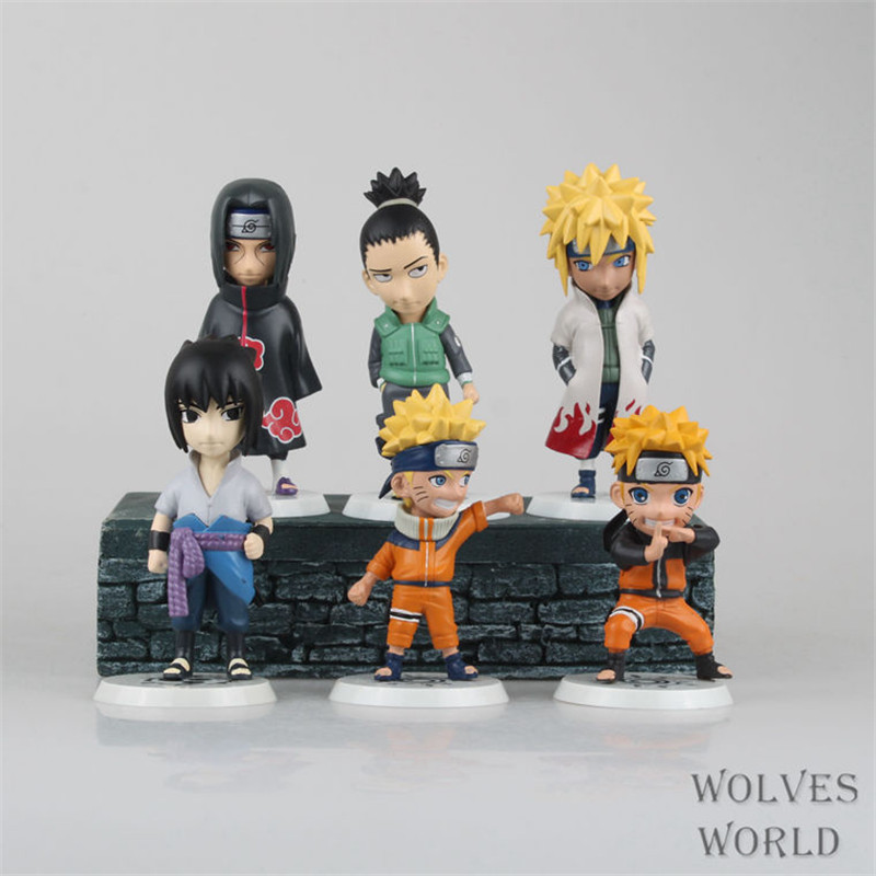 WVW 6pcs/Set Anime Heroes Naruto Uzumaki Naruto Sasuke Itachi Model PVC Toy Action Figure Decoration For Collection Gift anime naruto pvc action figure toys q version naruto figurine full set model collection free shipping