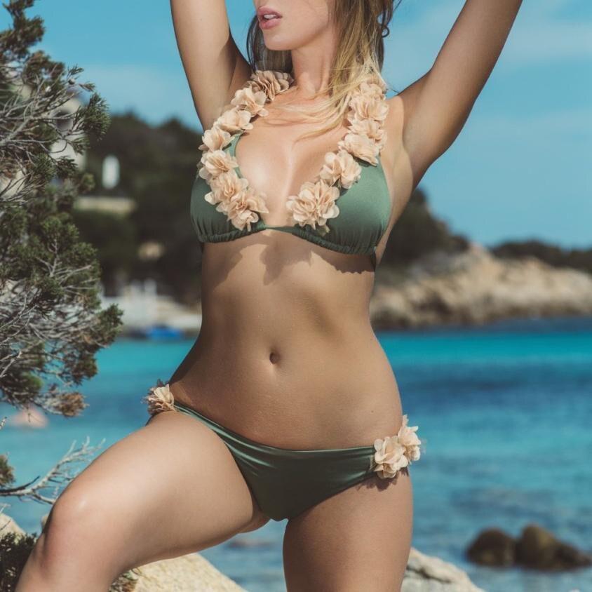2018 новые Для женщин основа Форма бикини купальник сплошной zaful купальники лепесток Бандаж пуш-ап Мягкий Купальный костюм для Для женщин