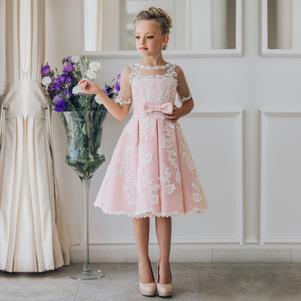 Fancy pink flower girl dress with appliques half sleeves for Young wedding guest dresses