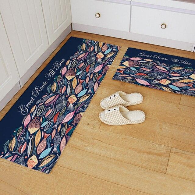 Yazi Flannel Blue Fish Kitchen Rug Soft Plush Colorful Floor Door Mat  Bedroom Area Carpet Doormat