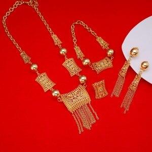 Image 1 - جديد وصول الأفريقية دبي الذهب العروس مجوهرات مجموعة 24 كيلو الذهب الاثيوبية الأوسط الفصح الهند كينيا المجوهرات مجموعة