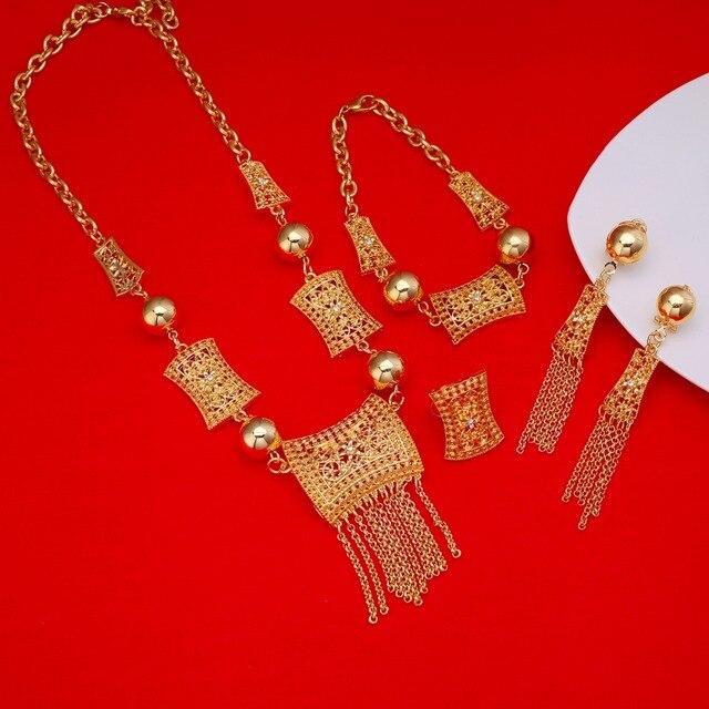 جديد وصول الأفريقية دبي الذهب العروس مجوهرات مجموعة 24 كيلو الذهب الاثيوبية الأوسط الفصح الهند كينيا المجوهرات مجموعة