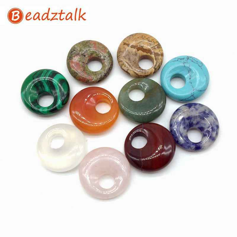 20 pcs Colorful Stone Coco Donut Pendants DIY Jewerly 18 mm Round Beads Carnelian Opal Crystal Sodalite Lava etc