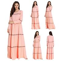 Muslim Embroidery Abaya Dress Dubai Kaftan Long Maxi Dress Pleated Robe Gown For Women Islamic Clothing Long Sleeve Elegant Pink