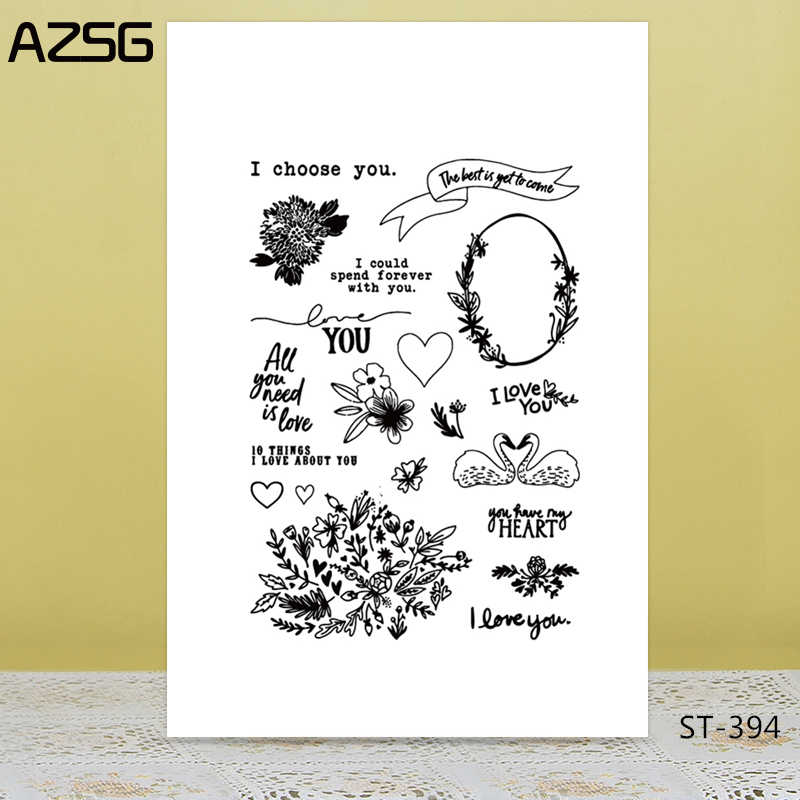 AZSG Swan Garland Potted Plant Clear Stamps For DIY Scrapbooking/Card Making/Album Decorative Silicone Stamp Crafts