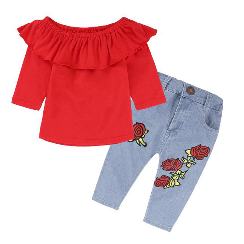2018 spring kid girl Long sleeve Red T-Shirt tops+rose flower print jeans 2 pcs clothes suit fashion children clothing for 0-6Y 2pcs children outfit clothes kids baby girl off shoulder cotton ruffled sleeve tops striped t shirt blue denim jeans sunsuit set