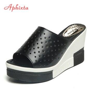 Aphixta الصيف النساء صنادل أرضية جديدة انقسام الجلود صندل كعب عالٍ النعال أحذية امرأة الموضة 1