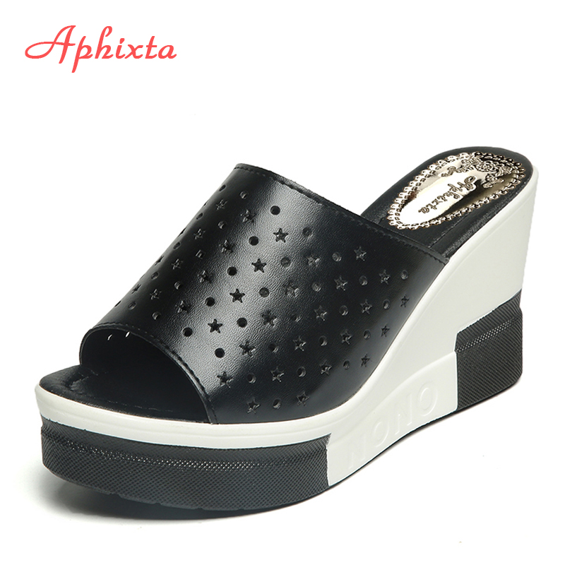Aphixta Summer Slides Women Wedge Slippers New Platform Sandals Split Leather High Heels Sandals Slipper  Fashion Woman Shoes black women wedge slippers 12cm high heel platform pumps genuine leather shoes woman gladiator sandals slides wedges creepers
