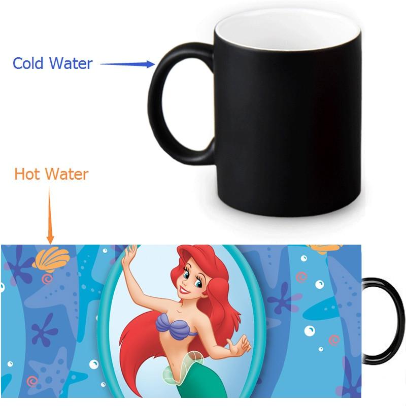 <font><b>Little</b></font> Mermaid Mugs Heat Changing Color Tea <font><b>Cup</b></font> Transforming <font><b>Black</b></font> Magic Morphing Coffee Mug For Friend Gift 350ml