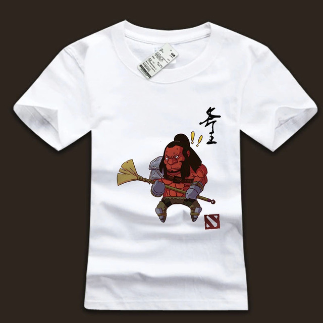axe cartoon printed t shirts dota 2 heros white plus size tees in