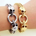 Top Quality Gold Or Silver Skull 316L Stainless Steel Bracelets Charms Men 12MM Wide Link Chain Bangles Fashion Jewelry