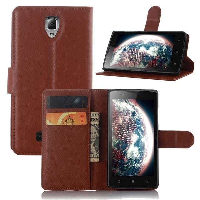 レノボは2010フリップスタンドデザイン電話バックカバー財布カードスロットブックスタイル黒ブラウンホワイト