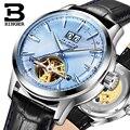 Оригинальные Роскошные Брендовые мужские часы Бингер с кожаным ремешком  автоматические механические часы для бизнеса  водонепроницаемые ...