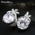Moonsoul Dragonfly Shape Stud Earrings Top Grade CZ Crystal White Gold Plated Cute Earrings Zircon Jewelry E10228