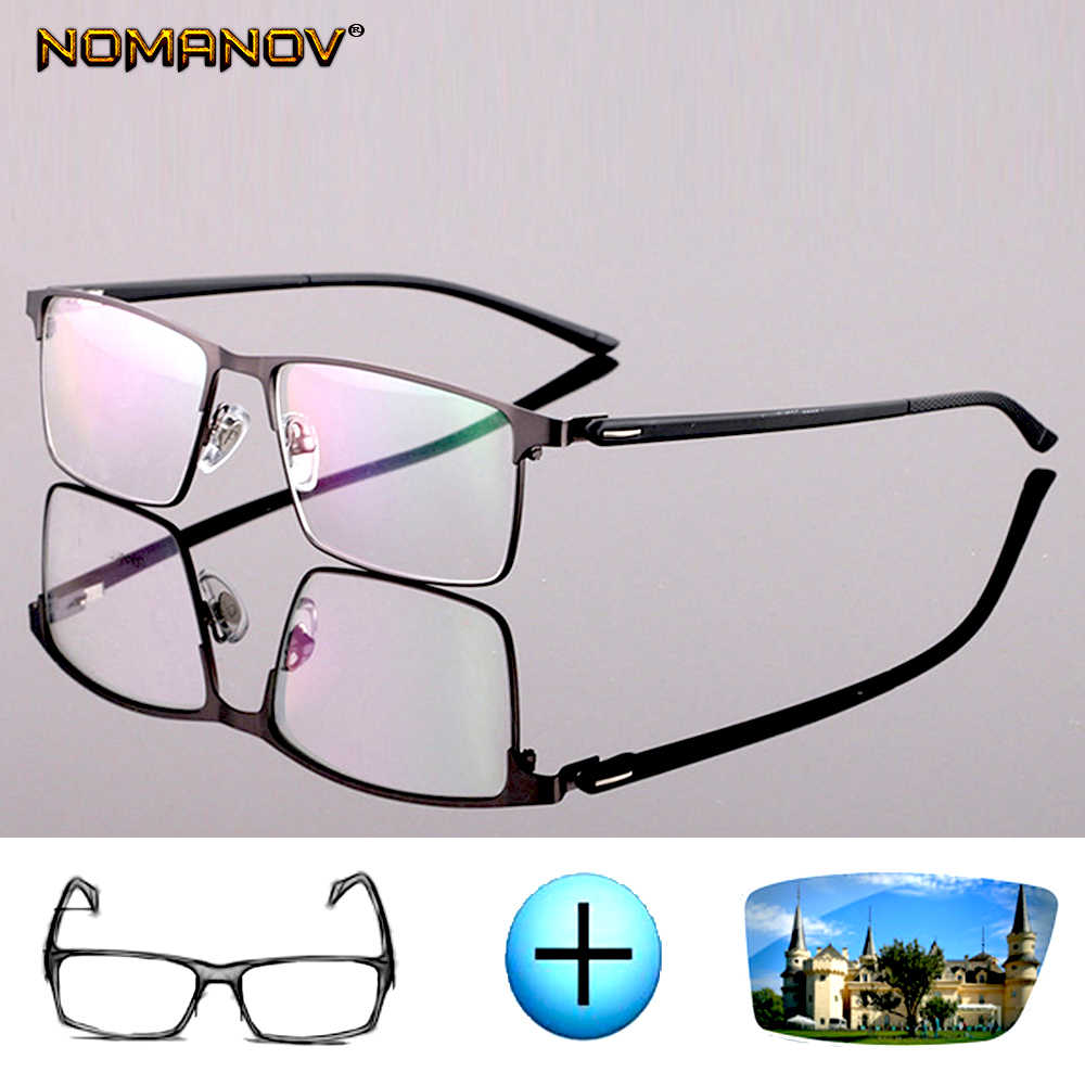 Custom made prescription optical glasses photochromic Classic large Titanium alloy full-rim frame myopia short sight reading