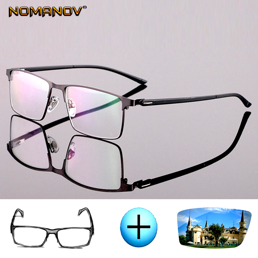 Custom Made Optical Prescription Glasses Photochromic Classic Large Titanium Alloy Full-rim Frame Myopia Short Sight Reading