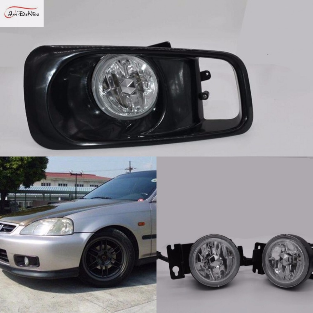 JanDeNing Car Fog Lights for Honda Civic 1999~2000 Clear Halogen bulb H11-12V55W Front Fog Lights Bumper Lamps Kit for opel astra h gtc 2005 15 h11 wiring harness sockets wire connector switch 2 fog lights drl front bumper 5d lens led lamp