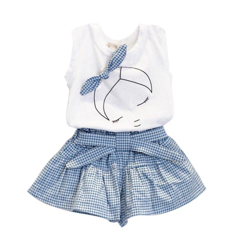 Kid Baby Girl Clothes Set Bowknot T-shirt Tops + Plaids&Check Dress Skirt Pants Outfits ...