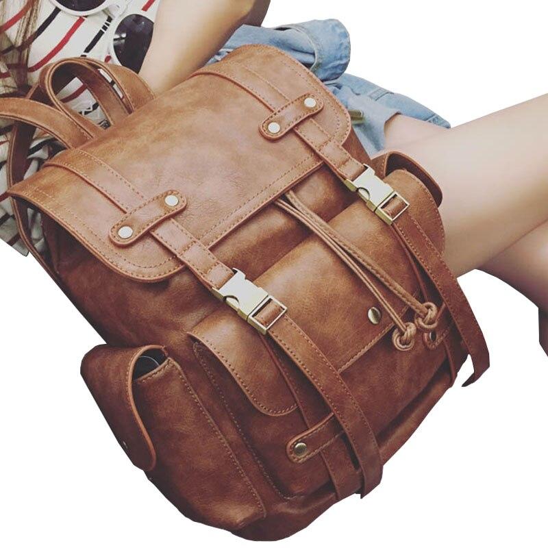Latest Women Vintage Leather Backpack Fashion Feminine Casual School Bags For Teenage Girls Female Preppy Travel