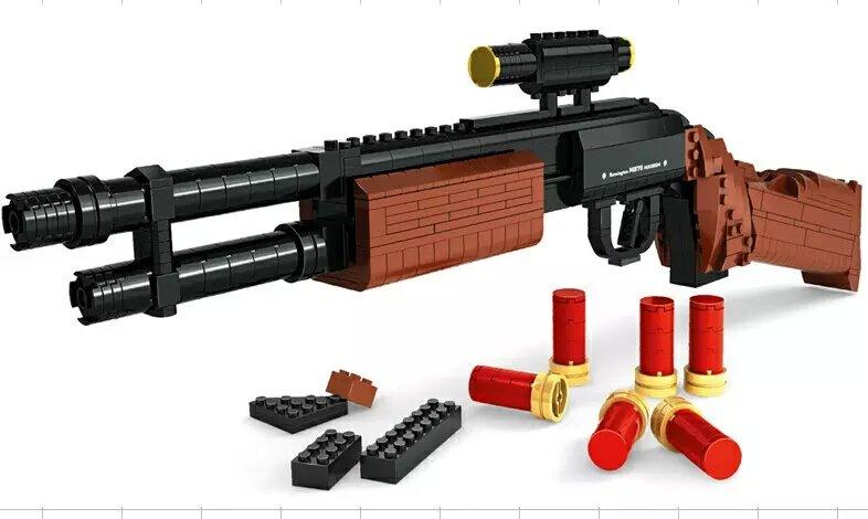 527pcs M870 Modular Combat Shotgun GUN Weapon Arms Model 1:1 3D Model Brick Gun Building Block Set Toy for kid 300pcs swat revolver pistol power gun weapon arms model 1 1 3d diy model building blocks bricks kids toy gift