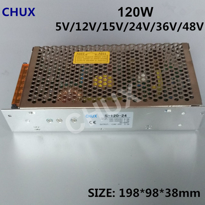 CHUX 120W 24V 5A Switching Power Supply Single Output For LED Strip Light DC 15v 12v 36v 48v Switch Power 10A SMPS бегунок д витой декор т5 автомат серебро