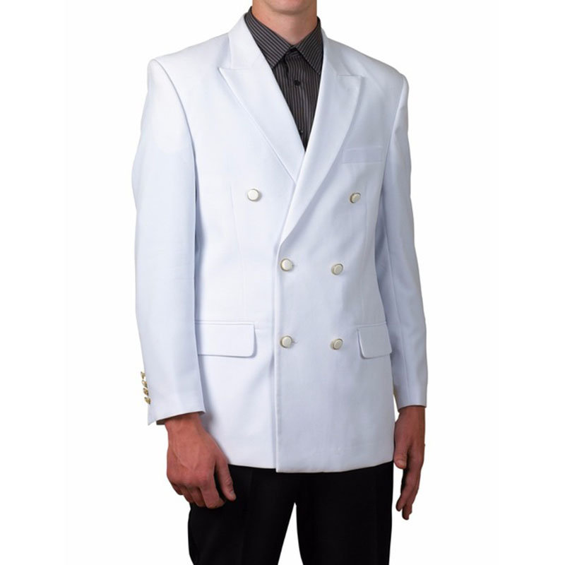 New Design White with Black Pants Men Suit Double Breasted Jacket 2 Piece Tuxedo Groom Blazer Prom mens Suits terno masculino