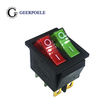 цена на 1 pcs/lot KCD4 31*25mm RED/GREEN Led Copper feet 6PIN DPDT Boat Rocker Switch on off Snap-in Position switch 16A 250V Light