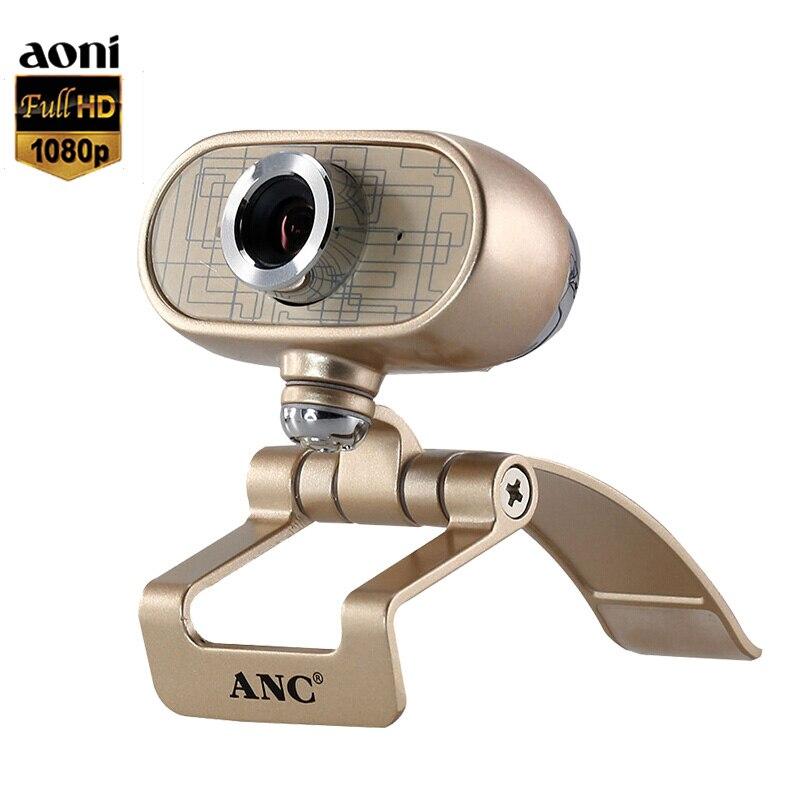 D'origine Aoni L'ANC A9 1080P Full HD Webcam Smart TV Ordinateur Caméra USB Lecteur Libre Avec Micro Logiciel Effet de Tir