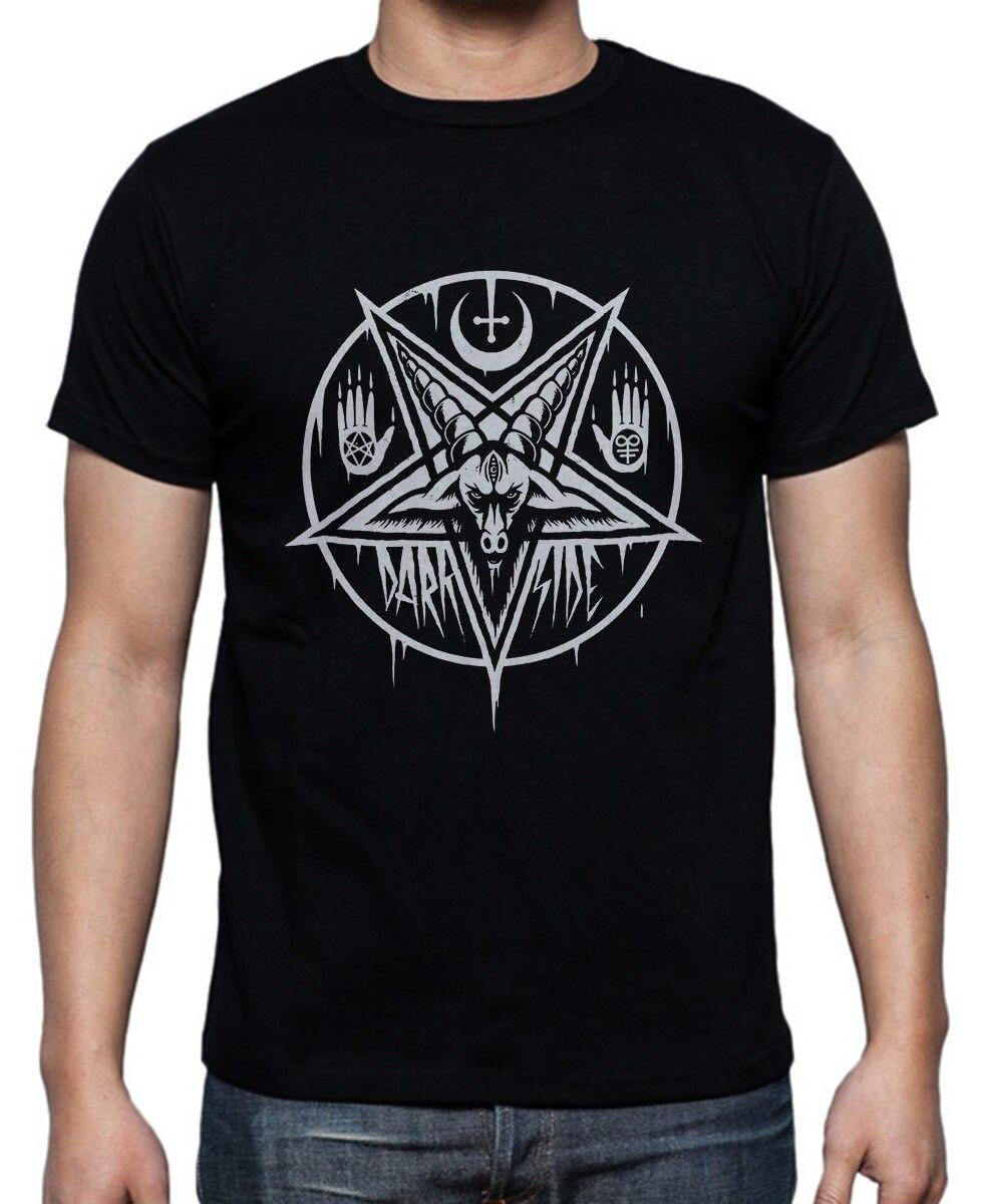 Lucifer Inverse Pentagram Homme T-shirt noir Simple à manches courtes coton T petit haut Tee 2018 nouvelle mode