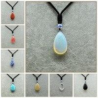 Bijuterias Bijoux Femme Crystal Necklace Water Droplets Pendant Natural Stone Pendant Men Jewelry Aquamarine Beads Apatite