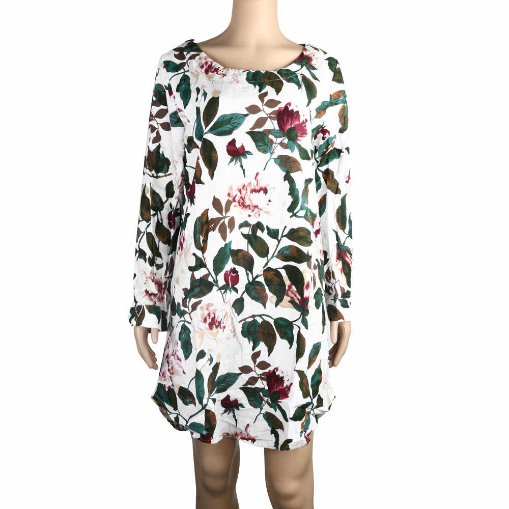 Y 35 mujeres Mini vestido de estampado Floral de fiesta de verano de Vestido de manga larga talla grande vestidos de playa de gasa de las mujeres vestidos