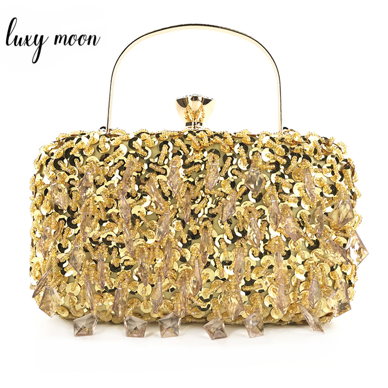 Vintage Handmade Beaded Women Clutches With Metal Plastic Sequined Fashion Lady Chain Shoulder Bag Evening Bags For Party Purse