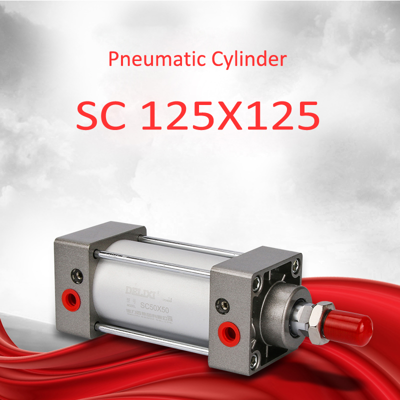 Delixi SC 125X125 Pneumatic Cylinder Double Acting Single Rod 125mm Bore 125mm Stroke Air Cylinder