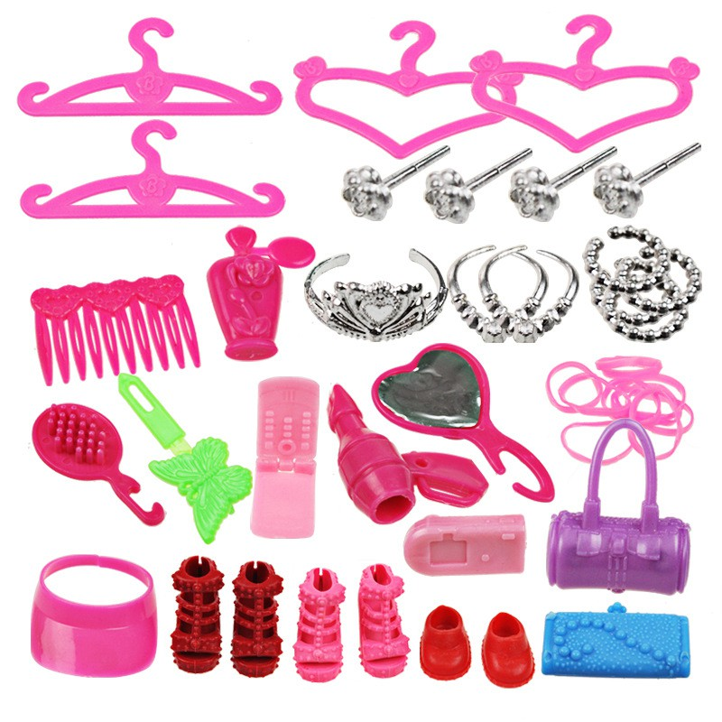 42 PC/ Set Child Toys Doll Accessories Hangers Bag Shoe Earring Bowknot Crown For Barbie Dolls Dress up Best Gift Packs