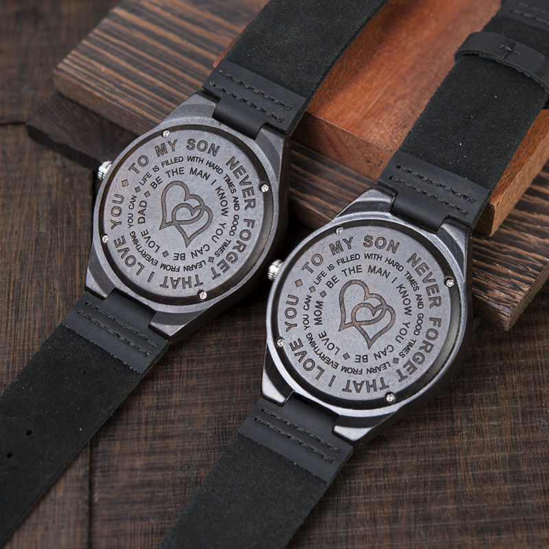 Personalized Ebony Wooden Wrist Watch for Son / Wife / Lover 10
